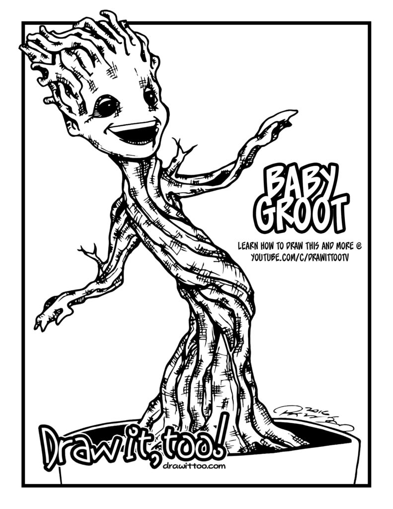 Baby Groot Guardians Of The Galaxy Draw It Too