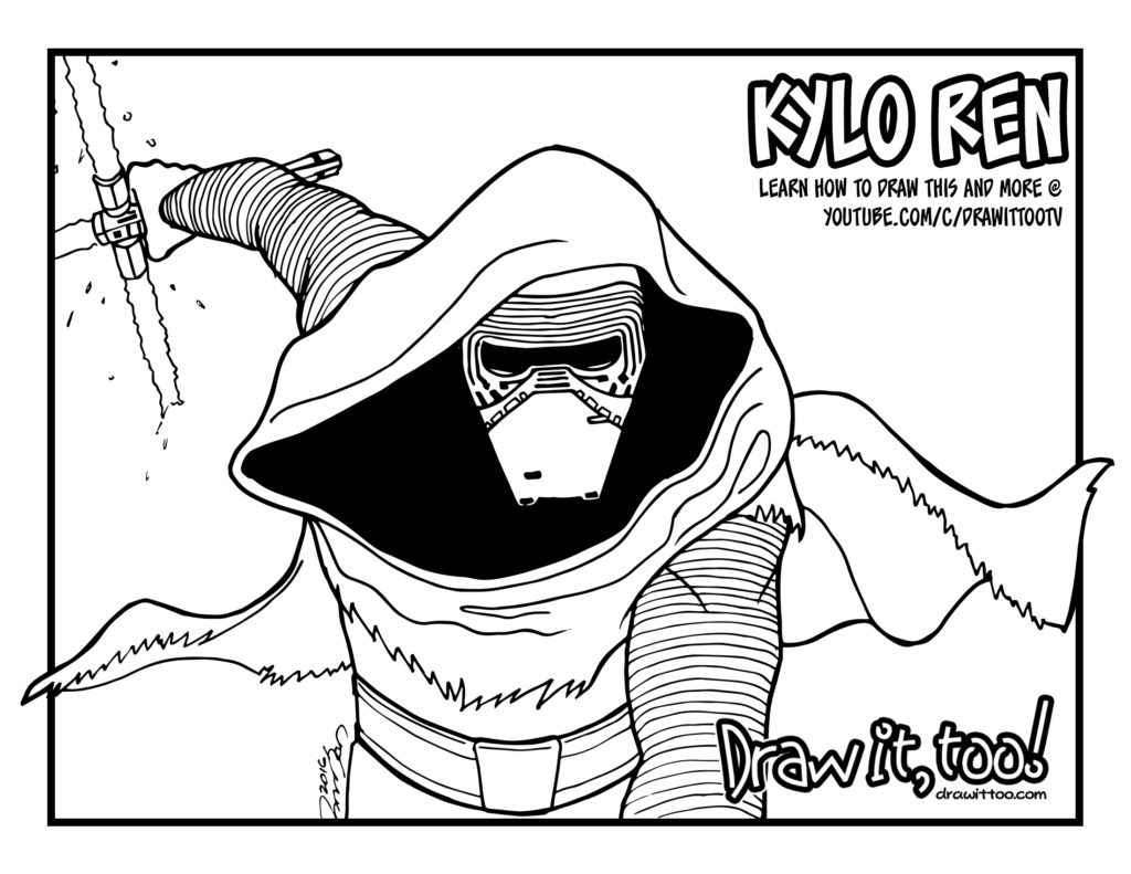 Kylo ren star wars the force awakens draw it too for Kylo ren coloring page
