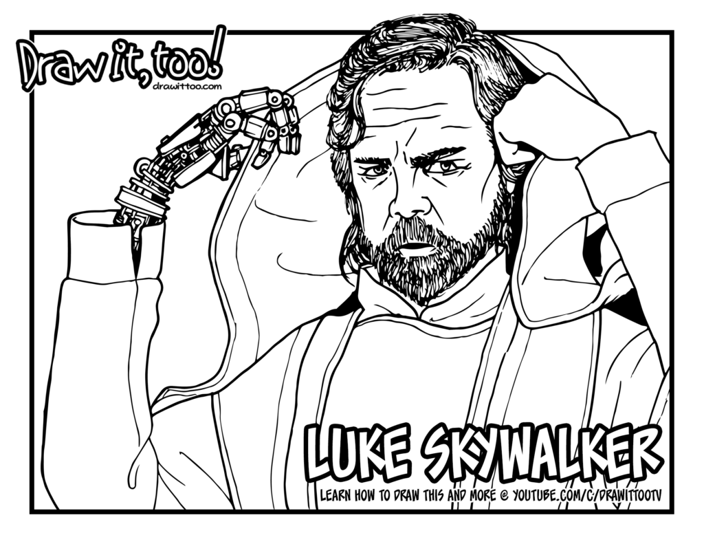 luke skywalker star wars the force awakens u2013 draw it too