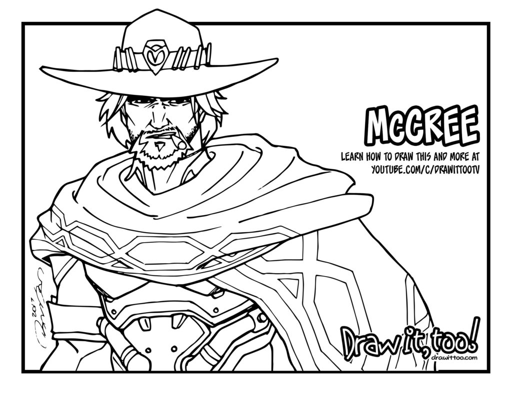 Mccree overwatch tutorial draw it too for Overwatch coloring pages