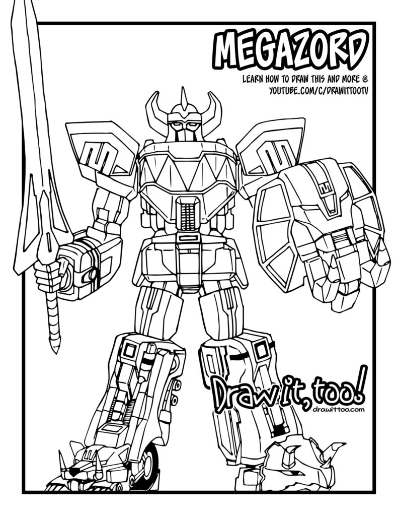 mighty morphin power rangers coloring pages - speed drawing megazord mighty morphin power rangers