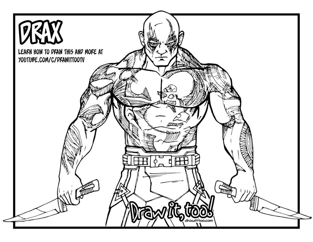 Drax The Destroyer Guardians Of The Galaxy Drawing Tutorial Draw