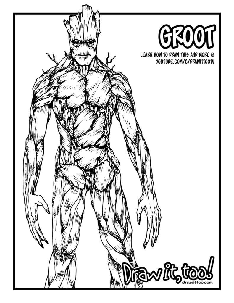 Groot Guardians Of The Galaxy Tutorial Draw It Too