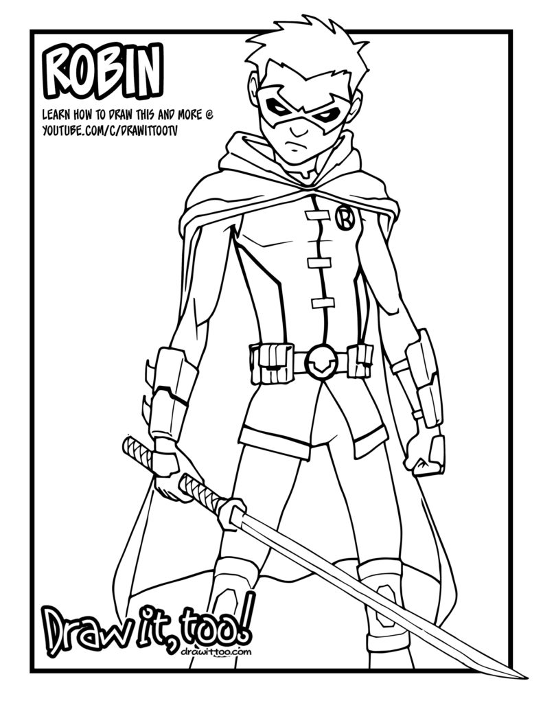 Damian Wayne Robin Comic Version Tutorial Draw It Too Coloring Pages