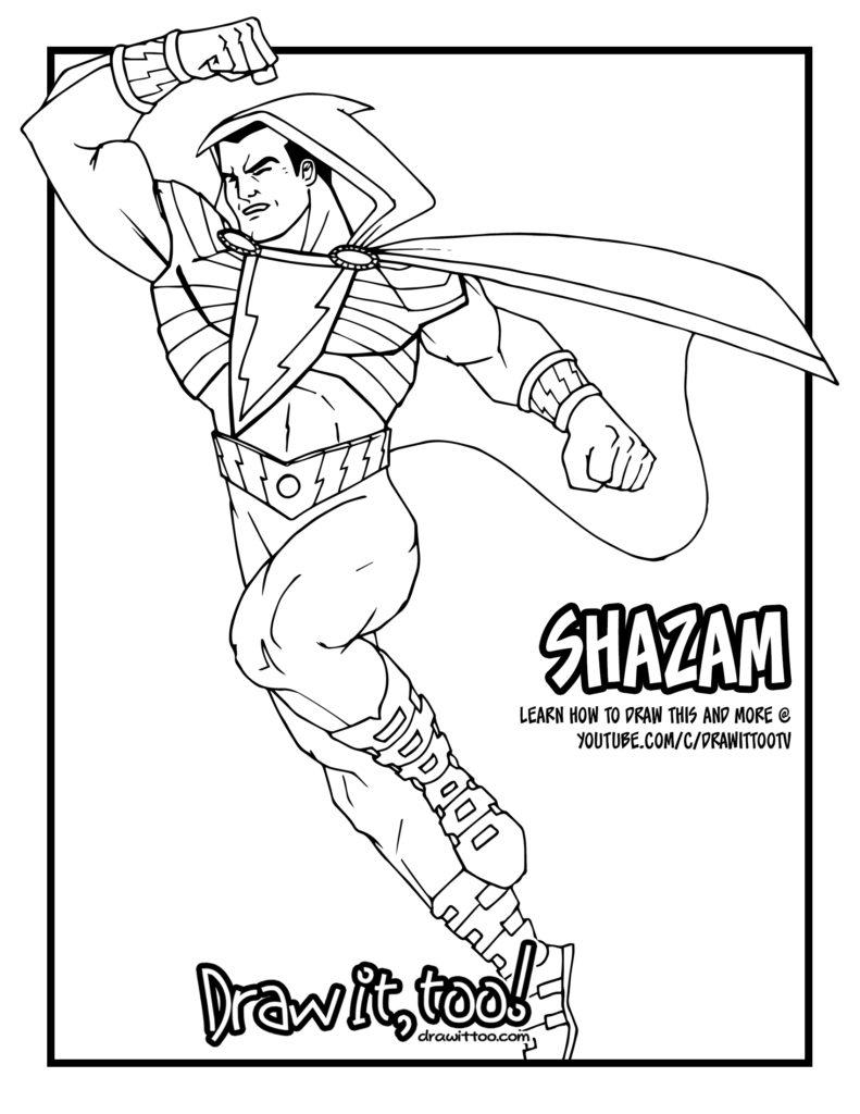 shazam comic version tutorial draw it too