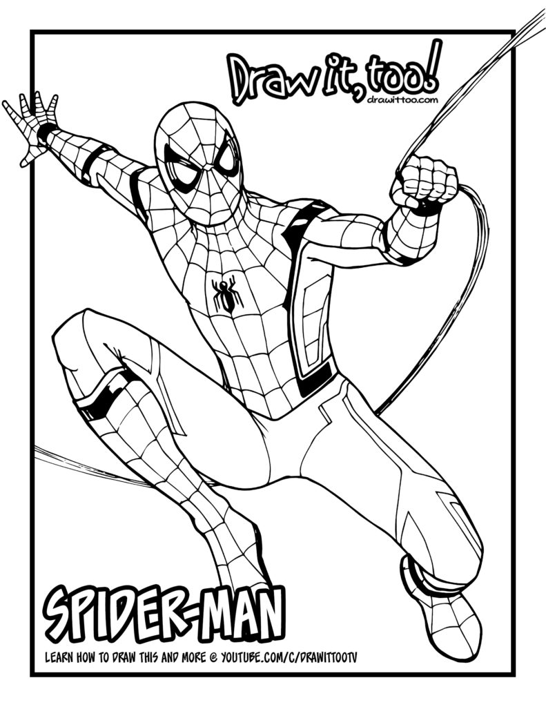 How To Draw SPIDER MAN Spider Man Homecoming Drawing Tutorial