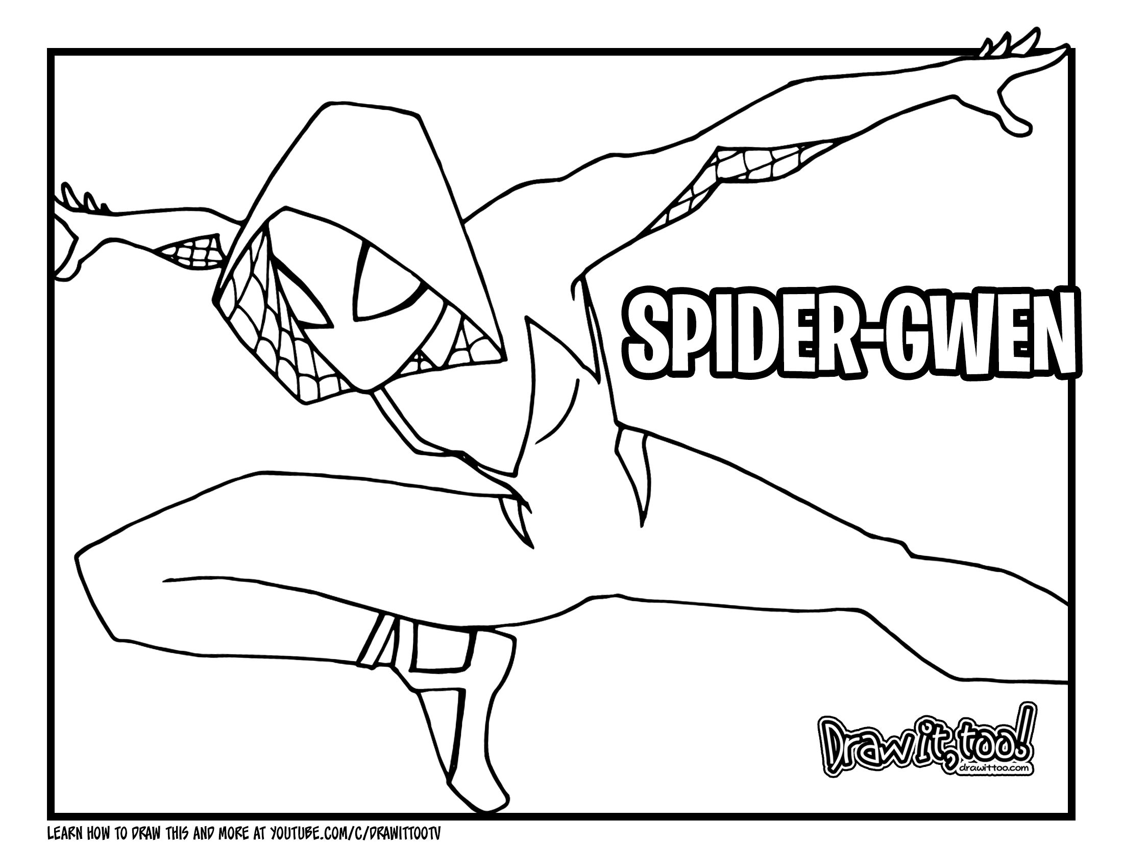 How to Draw SPIDERGWEN SpiderMan Into the SpiderVerse