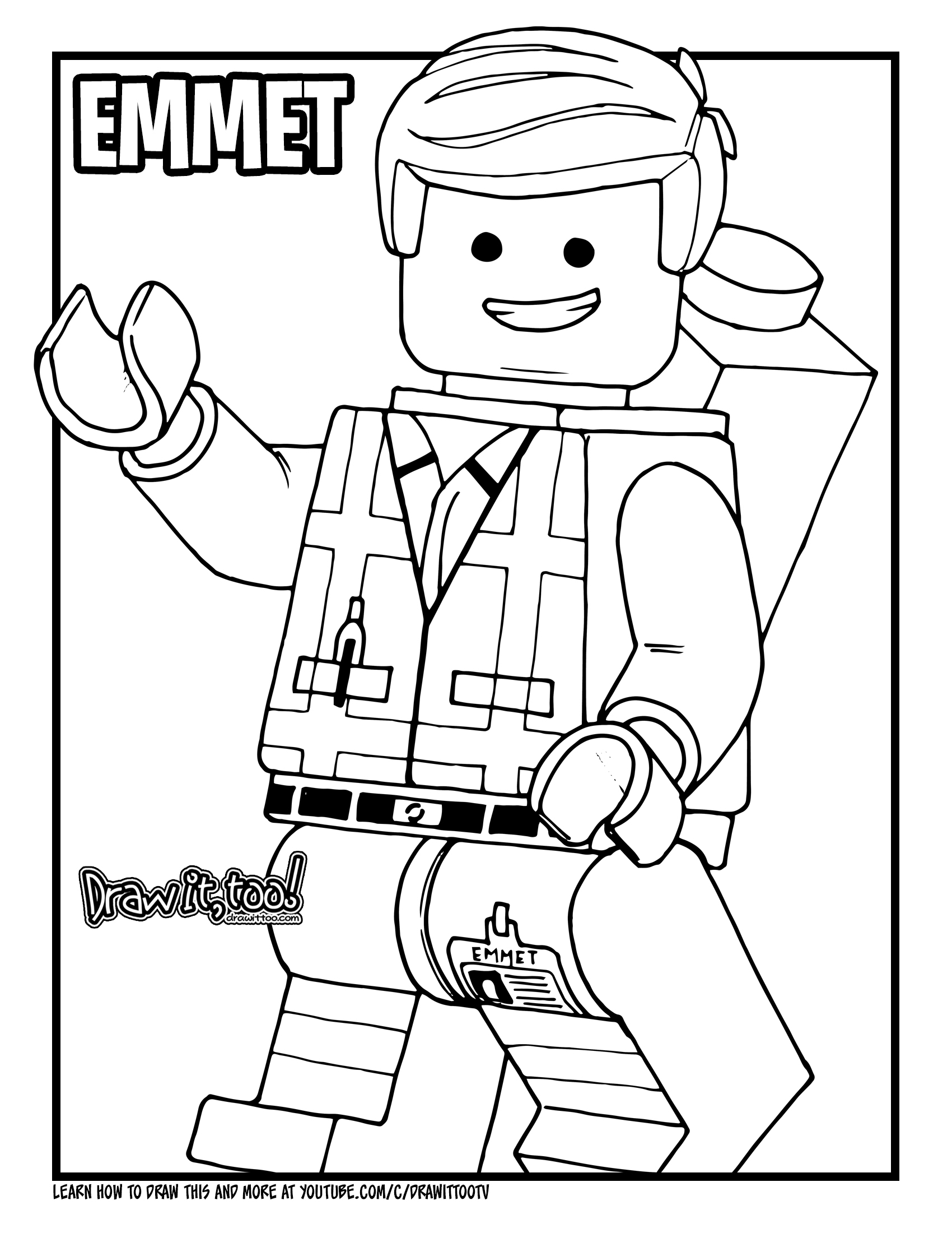 How to Draw EMMET BRICKOWSKI (The LEGO Movie) Drawing ...