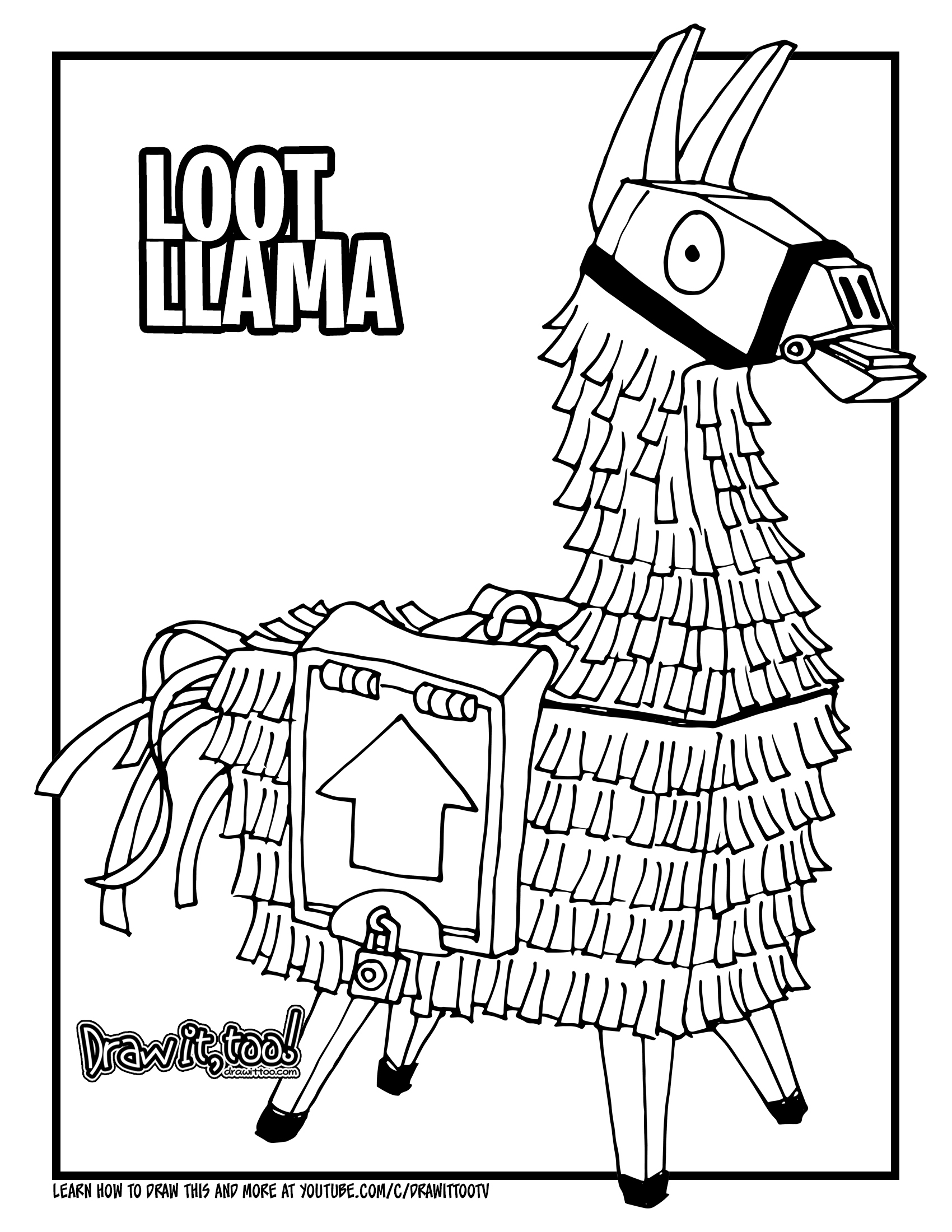 How to Draw the LOOT LLAMA Fortnite
